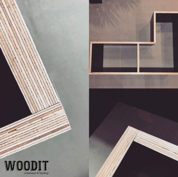 Vakkenkast Betonplex Zwart Woodit